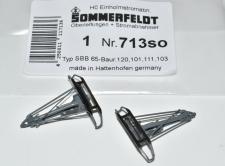 Sommerfeldt H0 765  2 Stück Einholmstromabnehmer rot SBS 81 mit Sockel  NEU /&OVP